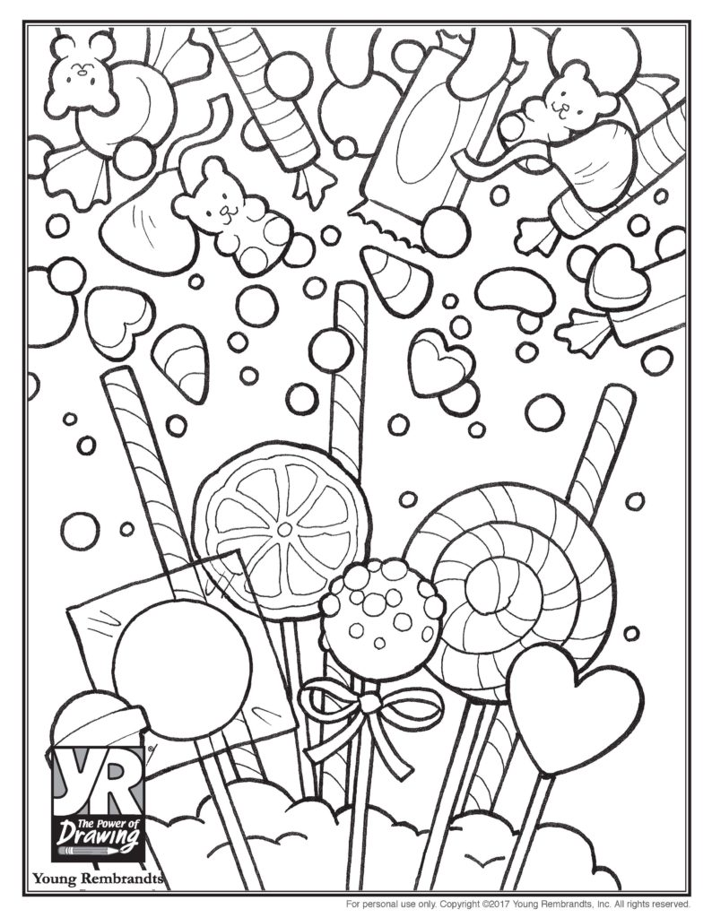 Candy coloring page young rembrandts shop for Candy color pages