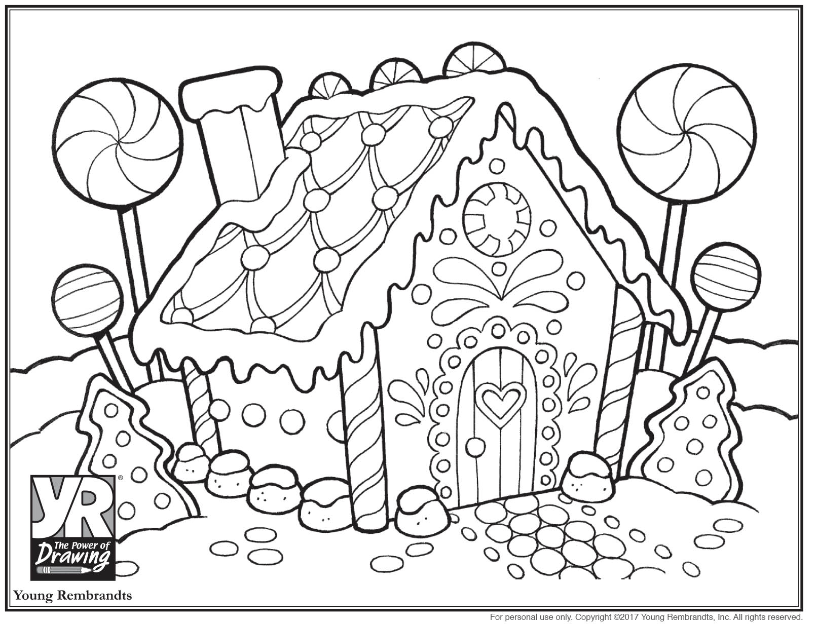 Gingerbread House Coloring Page - Young Rembrandts Shop
