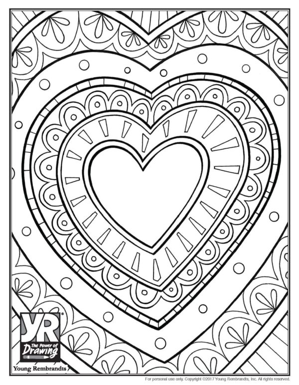 Doily Heart Coloring Page   Young Rembrandts Shop. »