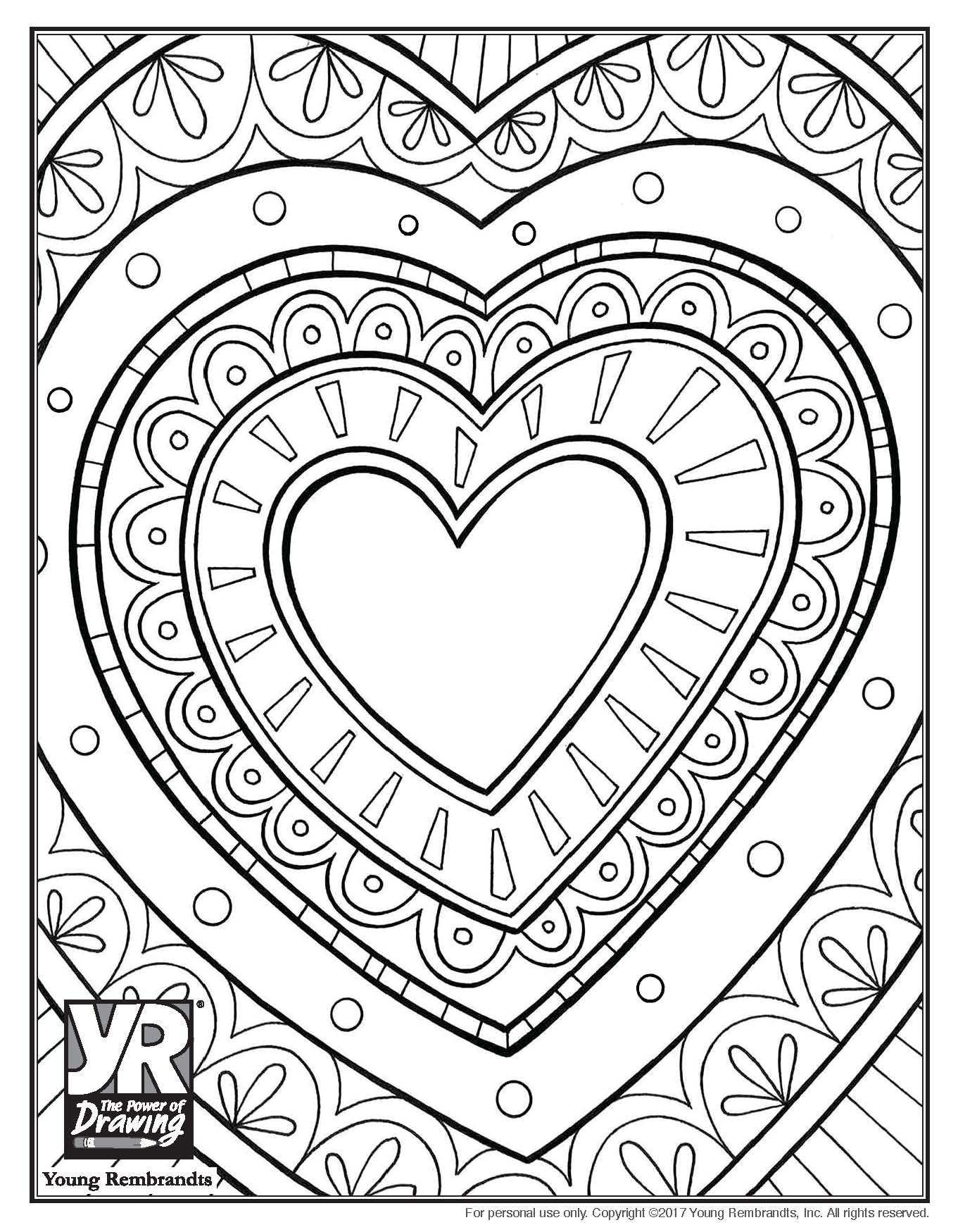 Doily Heart Coloring Page Young Rembrandts Shop