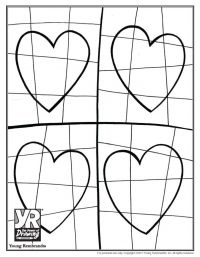 Four Hearts Coloring Page