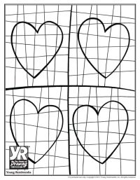 Graphic Hearts Coloring Page