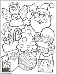 Christmas Collage Coloring Page