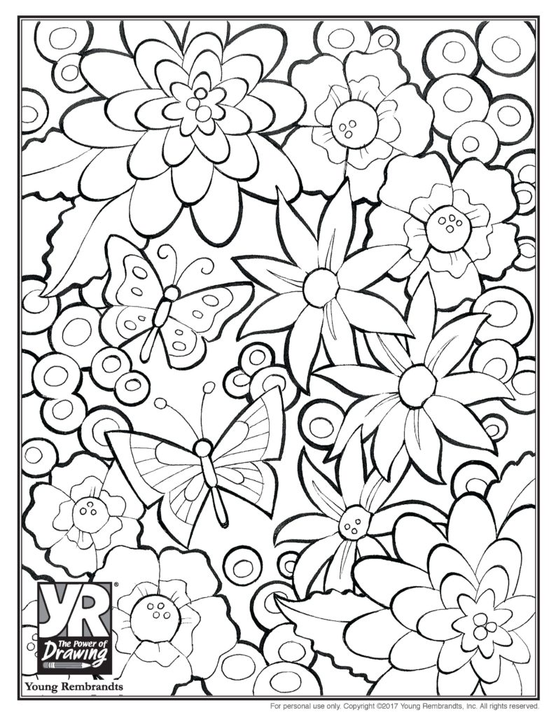 Flowers Coloring Page Young Rembrandts