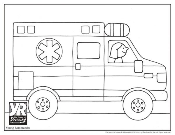 Ambulance Coloring Page Young Rembrandts Shop