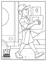 Delivery Man Coloring Page