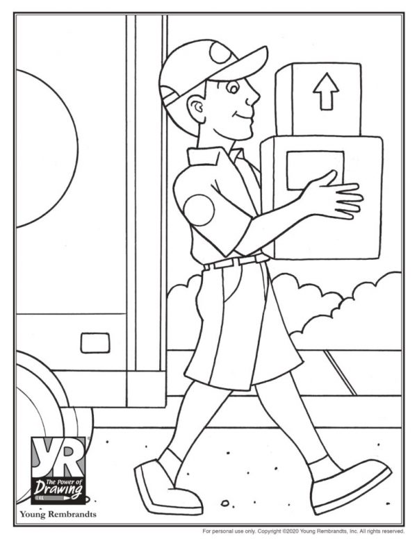 Delivery driver male-coloringpage-BW