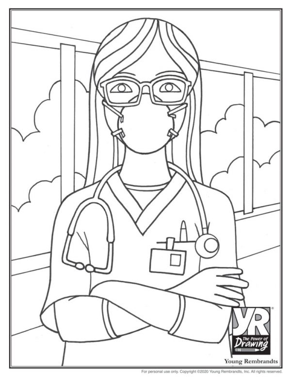 Healthcare worker-coloringpage-BW