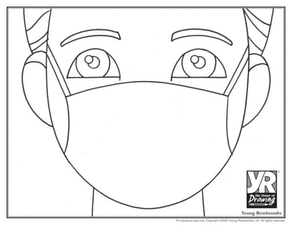 Short hair mask-coloringpage-BW