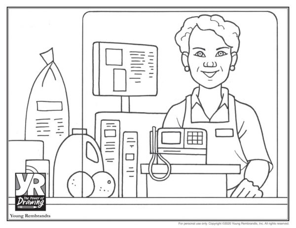 Store clerk-coloringpages-BW
