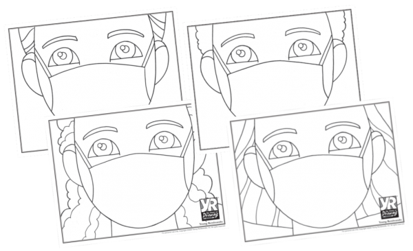 kids with masks coloring pages