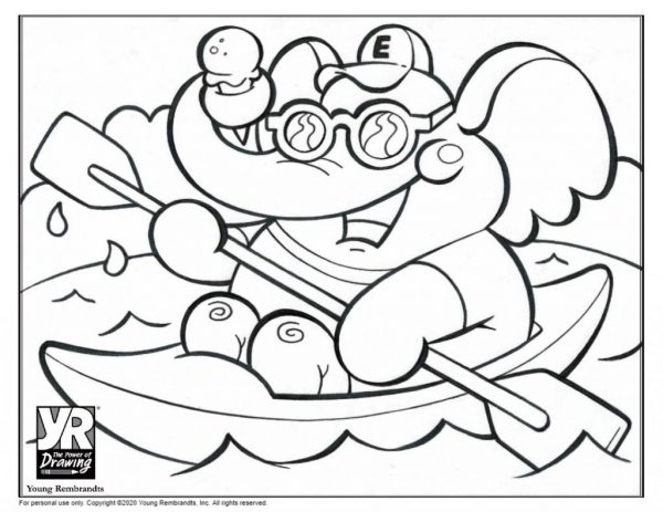 CanoingElephant-coloringpage-BW